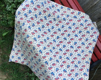 Vintage Hand Quilted Hand Tied Whole Cloth Red, White and Blue Horses Crib Quilt