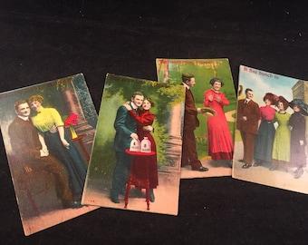 Set of 4 Antique/Vintage Victorian Era Sweetheart Postcards