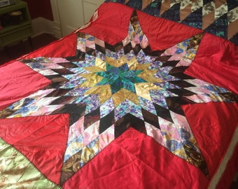 Vintage Lone Star Pattern Quilt Bedspread Set in Red