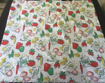 Vintage Red, Green & Yellow Vegetables and Herbs Print Luncheon Cloth/Tablecloth
