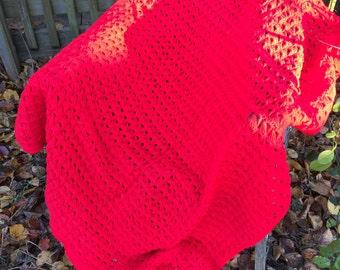 Vintage Red Hand Crochet Afghan or Lap Throw