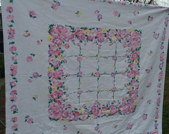 Vintage Pink and Purple Floral and Lattice Luncheon Cloth