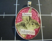 Choose Adoption Rabbit Pendant, 50% of the proceeds go to the current selected animal charity