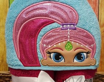 Pink Genie Girl Hooded Towel