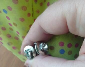 Vintage Clear Rhinestone Silvertone Screwback Earrings