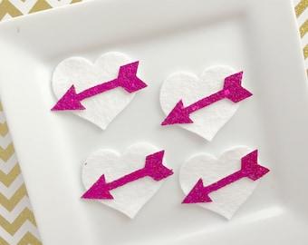 Wool Felt Hearts with fuchsia  arrow center 1.5 inch heart set of 4 white and fuchsia Valentine Hairbow