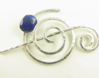 Silver Hammered Shawl Pin/Brooch/Clasp Spiral with Genuine Lapis Lazuli