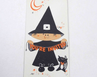 Vintage Unused Halloween Party Invitation Card with Witch and Black Cat by Hallmark