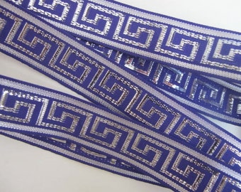 3 yards  GREEK KEY Jacquard trim in silver on purple. 1 inch wide. 878(6)-D