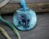 RESERVED Amazing Manatee -  Fused glass pendant