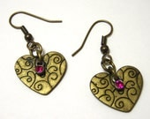 Gold Swirl Heart Earrings - Antiqued gold rustic heart shaped dangle earrings with pink rhinestone accent