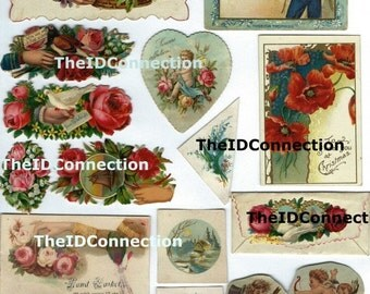ON SALE Victorian Trade Card College Collection, Digital Download, Victorian Children, Flowers, Roses