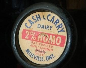 ON SALE Vintage Glass Milk Bottle, Belleville ONT, Canada, Cash & Carry Dairy 2% Homo Pasteurized Partly Skimmed Milk,