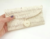 cream cash envelope wallet checkbook cover. music note score symphony white cotton fabric womens coupon holder. cloth material