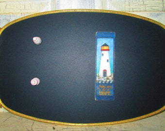 Repurposed Vintage Brass Serving Tray Magnetic Chalk Board