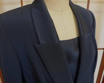 Vintage Women's Wilkes Bashford Midnight Blue Silk Tuxedo Suit