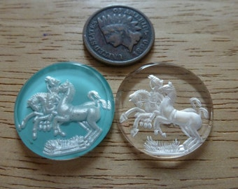 RARE Vintage 4 Horse, Horses Incised Clear Frosted Glass Intaglio Cameos 22.5mm, 1 Pc C40