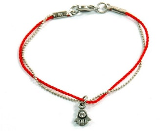 Red String Bracelet with Hamsa Hand Charm