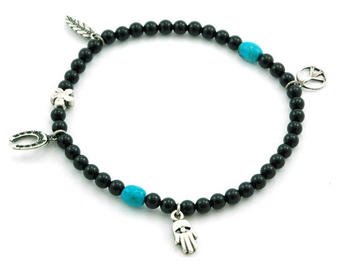 Black Onyx gemstones stretch anklet with silver plated charms for Inner Peace and Balance.