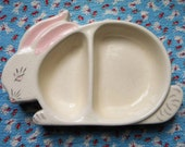 Vintage Bunny Rabbit Dish or Food Bowl Easter Ceramic 1958 JEE