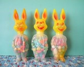 3 Vintage Easter Bunny Rabbit Candy Containers Anthropomorphic Rosen Rosbro Company