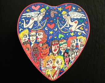 Vintage James Rizzi Heart Shaped Tin Container Very Rare Pop Art Collectible Love and Kisses