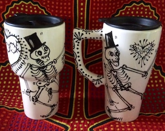 Dancing Skeletons Ceramic Travel Mug with Handle and Lid that Closes