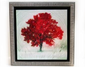 Winter greets autumn, Framed 10x10 inches, tree, tree art, art, #Tree art #Art #Visual arts #Gina Signore #Fine art photography #natureart
