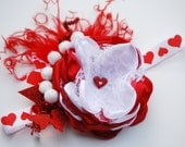 RED and WHITE vintage inspired satin flower headband with pearls. holiday bow. couture bow. valentine bow. red hearts. red glitter.