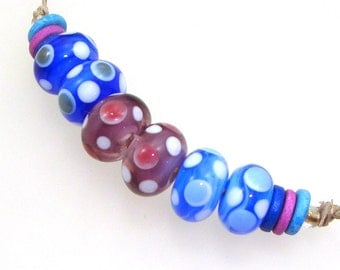 Handmade Lampwork Glass Beads - Larkspur! 3 pairs. Dotties in mystic blue, mystic violet, laguna blue. Earring pairs, stacked dots.