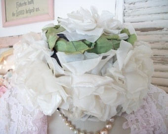 8 large vintage cream and blush color millinery roses flowers, full size, velvet and organdy, vintage ladies dress hat, shabby cottage chic