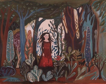 Forest Dress, Fine Art Print, wall decor, folk art, fine art