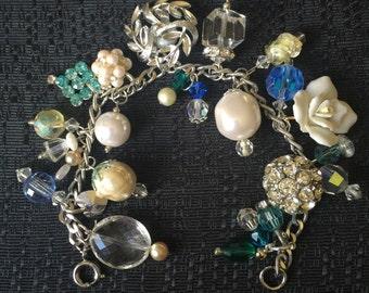 Sale Vintage Charm Bracelet Repurposed Upcycled Assemblage Spring Romance