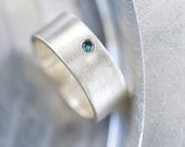 Wide Diamond Ring, Wide Silver Band - Size 8 Ready to Ship