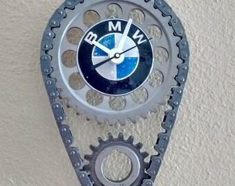 Auto Engine Timing Set with Worn BMW Emblem Wall Clock Garage Decor