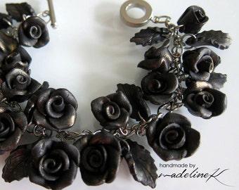 Black Rose Charm Bracelet - Handmade Polymer Clay Rose Bracelet - Black Rustic Bracelet - Black Rose Jewelry - Gothic Lolita