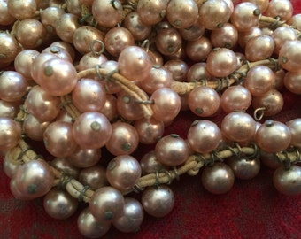 Vintage Glass Shabby Chic Beads (10)(8mm) Pale Pink Pearl Dangles Drops