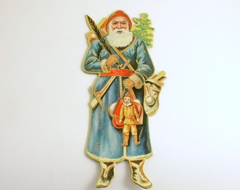Vintage Die Cut Santa Christmas Ornament St Nick
