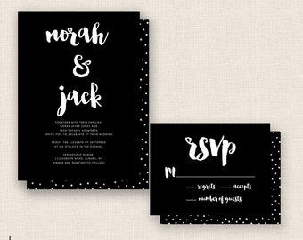 BRUSH & SCRIPT - DIY Printable Wedding Set - Invitation and Reply Card with Optional Dots Pattern for Back - Black and White - Polka Dots