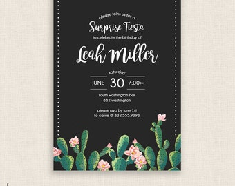 MODERN FIESTA - DIY Printable Birthday Party Invitation - Brush Calligraphy - Cactus, Cacti, Calligraphy - Gray, White, Green and Pink