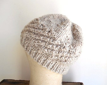 Chunky wool hat beanie, skull cap, watch cap - oatmeal barley - women teen unisex