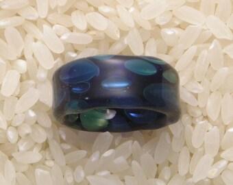 EMBLEM Size 6 Lampworked Borosilicate Glass Ring