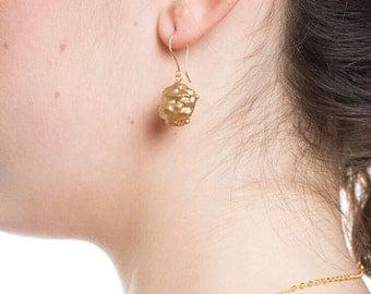 Vintage Gold Nugget Earrings, Gold Nugget Earrings, Gold Drop Earrings