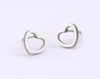 Heart Stainless Steel Earring Stud Post Finding (EH030B)