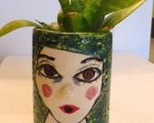 planter girls face vase  ceramic planter vase with face white green blue succulent planter