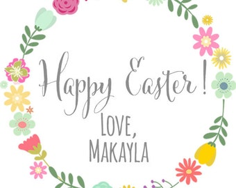 Happy Easter Spring Floral Wreath Thank You PERSONALIZED Stickers, Tags, Labels, or Cupcake Toppers, various sizes, printed & shipped