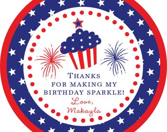 4th of July Party Birthday / Independence Day / American Flag /  STICKERS / Cupcake Toppers / labels /Thank You Tags in various sizes