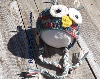 Crochet Newborn Owl Earflap Hat - Photography Prop - Newborn Photos