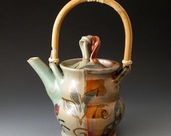 Teapot with Cane Handle, Pea and Leaf Design, Handmade Ceramic Teapot, Tea Makers,Teapots