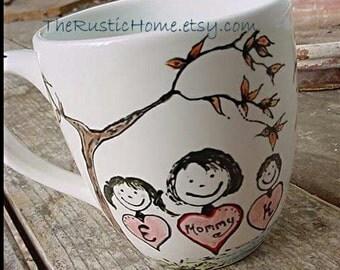 Custom Mom pottery mug personalized flowers tree more you design 16 ounce mommy and me family mug grandma dad mum grandpa too